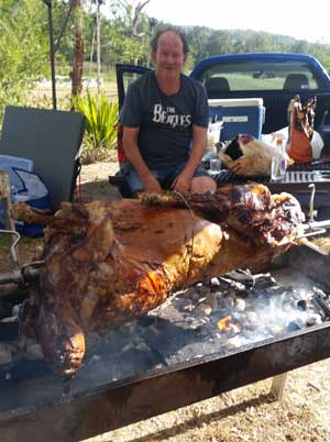 catering - spit roast lamb